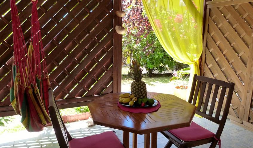 Votre terrasse couverte à proximité de la piscine.