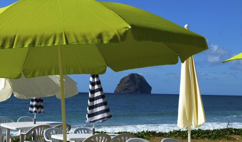 Mais aussi vous détendre, autour d'un verre, à l'ombre d'un parasol vue sur le rocher du Diamant.